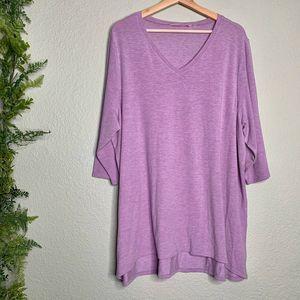 Soft Surroundings Malla Pullover Purple Top 3X